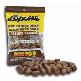 LAPOSSE PASITAS CON CHOCOLATE 540G 12 PAQUETES DE 45G