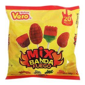 Vero Mix Dulce Banda Fuego Paletas 20 piezas 310g