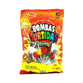 VERO PALETA BOMBA SURTIDAS 40PIEZAS 600G